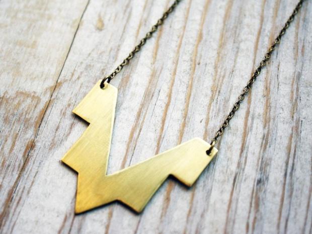 chevron golden brass pendant